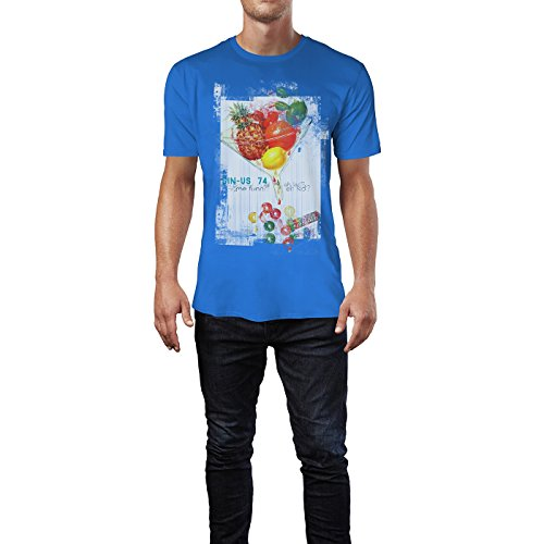 SINUS ART® Fruit Cocktail Herren T-Shirts stilvolles royal blaues Fun Shirt mit tollen Aufdruck