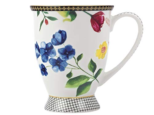 Maxwell Williams HV0017 C's Footed Coffee Cup/Tea Mug with Contessa Design, White