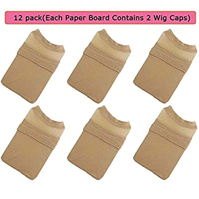 Moshina 12 Pack Breathable Stocking Nylon Wig Caps for Women Men(Neutral Nude Beige) Each Paper Board Contains 2 Wig Caps and 2 Portable Wig Stand