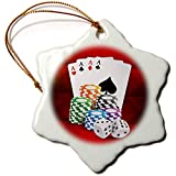 3dRose Sven Herkenrath Sport - Illustration of Poker Card with Chips Casino Hobby - 3 inch Snowflake Porcelain Ornament (ORN_294932_1)