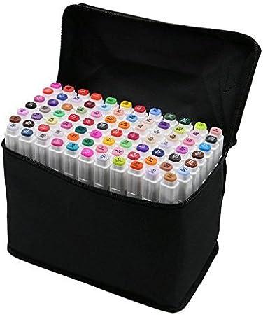 80 rotuladores de dibujo de colores variados, doble punta, fluorescente, con estuche de transporte, para dibujos, animación, subrayar y pintura: Amazon.es: Hogar