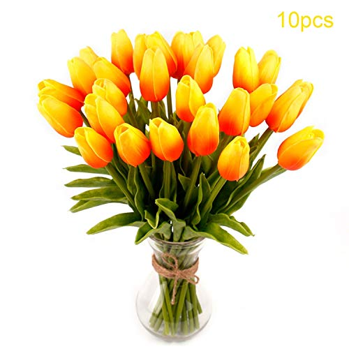 10 PCS PU Mini Tulip Flowers Real Touch Artificial Flower Home Bridal Fake Bouquet Wedding Decoration Flowers Wreaths Orange
