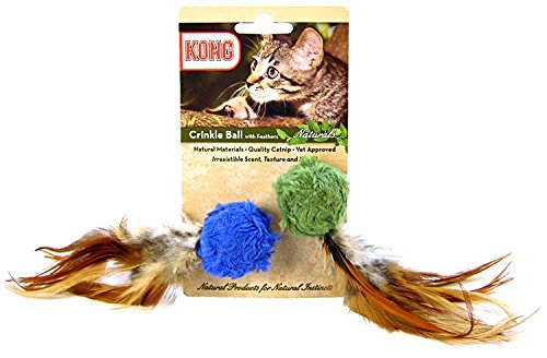 KONG-Naturals-Crinkle-Ball-with-Feathers-Cat-Toy-2-pieces