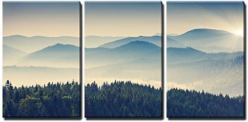 Beautiful Sunny Day is in Mountain Landscape Carpathian Ukraine Europe x3 Panels