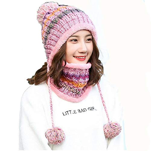 al Bufanda Winter Wool Fashion Mujeres Twinset Warm Sets Mantiene Thermal Thick Wool rosado XIANGMAI Knitting Female Cap Libre Winter Cap Aire xXtPpWqw