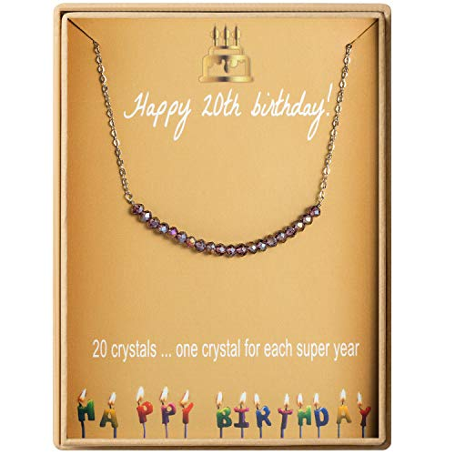 20th Birthday Gifts Necklace for Women S925 Sterling Silver Necklace 20 Crystal Beads for 20 year old Girl Jewelry Gift for Her