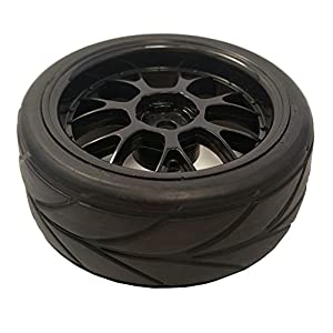 Apex RC Products 1/10 On-Road 12mm Black Mesh Wheels V Tread Rubber Tires (Set of 4) #5002