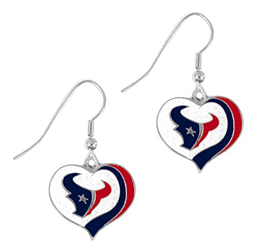 (aminco NFL Houston Texans Women's Sports Team Logo Swirl Heart Glitter Earring Set, One Size, Multicolor)