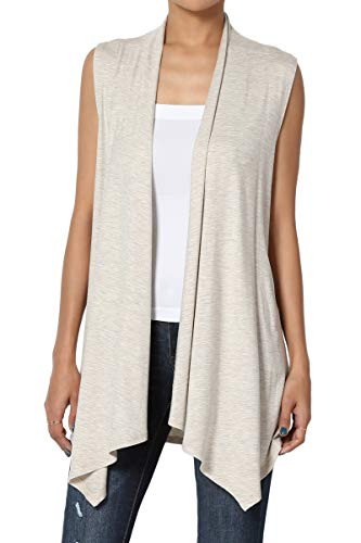 TheMogan Women's Sleeveless Waterfall Jersey Cardigan Asymmetric Vest Oatmeal L
