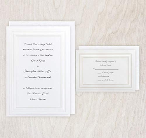 Pearl Framed Elegance Wedding Invitations & RSVP Cards with Envelopes - Set of 25 - - Elegance Framed