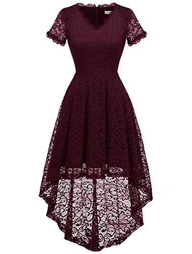 MODECRUSH Womens Ruffle Sleeve Formal Hi Low Floral Lace Cocktail Party Dresses S Burgundy