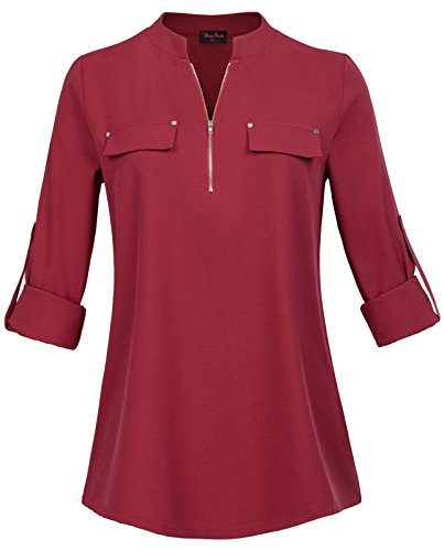 Shirred Leggings (Women's V-Neck Blouses Plus Size Button Casual Chiffon Tunic Shirt Wine Red Size 2X)