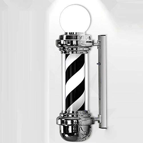 Barber Stripe - 68cm Wall Mountable Barber Pole LED White Black Stripes Rotating Light,Hair Salon Sign,Waterproof Indoor Outdoor Use