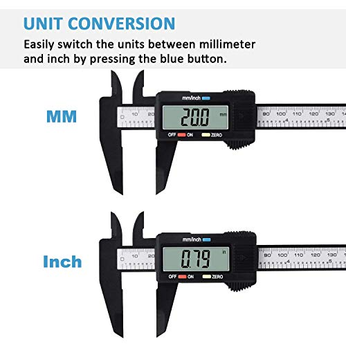 "Digital Caliper, Adoric 0-6"" Calipers Measuring Tool - Electronic Micrometer Caliper with Large LCD Screen, Auto-Off Feature, Inch and Millimeter Conversion"