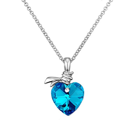[18k Gold-Plated Austrian Crystal Angel Heart Pendant Necklace Afterglow Jewelry] (Big Sister Little Sister Costumes)