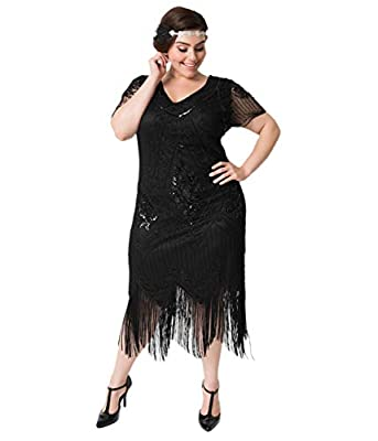 Unique Vintage Plus Size Black Beaded Short Sleeve Fringe Valentine Cocktail Flapper Dress