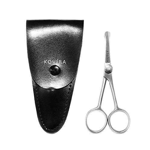 Nose Scissors - 4 Inch Rounded Scissors for Nose, Eyebrow, Ear, Dog Hair Trimming - Nasal Scissors for Men, Women - Nose Hair Scissors with Case