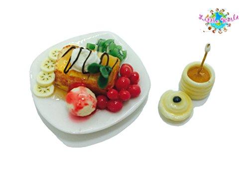 Dollhouse Miniature Food:Banana Honey Toast with Honey Jar, Little world Collectibles, Dollhouse Miniature Food, Dollhouse Kitchen Accessories, Size 1.18'[3 cm] ,The same size as Barbie (Christmas Cactus Cookie Jar)