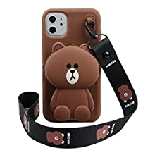 "Cartoon Case for iPhone 11 Pro 5.8"",Phenix-Color 3D Cute Soft Silicone Animated Fashion Protective Back Cover with Pocket and Detachable Necklace for iPhone 11 Pro 5.8"" (Bear, iPhone 11 Pro 5.8"")"