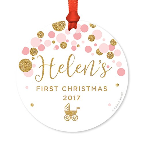 Andaz Press Personalized Round Metal Christmas Ornament, Baby's First Christmas 2017, Pink Gold Glittering Confetti Polka Dots, 1-Pack, Includes Ribbon and Gift Bag, Baby Shower Decor, Custom - Babys Personalized First Ornament Christmas