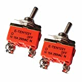 ERTIANANG 2pcs AC 250V 15A Amps On/Off Toggle Switches 2 Position DPST 4 Screw Terminals Electric Switch For Switching Lights Motors