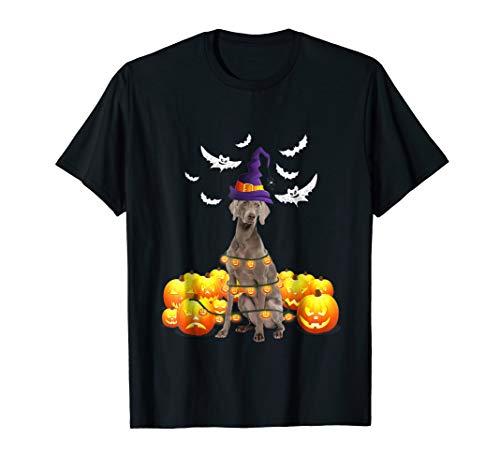 Weimaraner Dog Pumpkin Light Up Ghost Halloween T-Shirt -