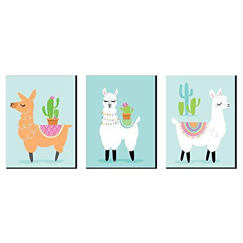 Whole Llama Fun - Nursery Wall Art, Kids Room Decor and Llama Fiesta Home Decorations - 7.5 x 10 inches - Set of 3 - Whole Home Set