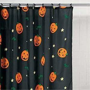 Halloween Pumpkin Jack-O-Lantern Bathroom Shower Curtain Holiday Decor