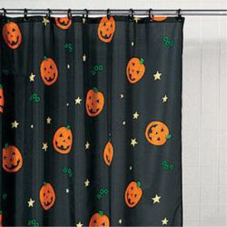 OTC Halloween Pumpkin Jack O Lantern Bathroom Shower Curtain Holiday Decor