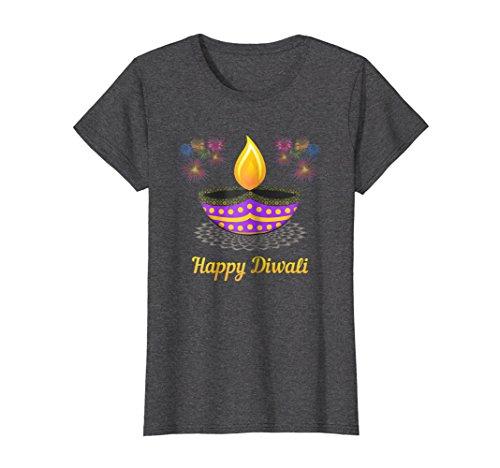 Womens Happy Diwali Diya T-Shirt For Diwali Celebrations XL Dark Heather by Diwali Shirts Co
