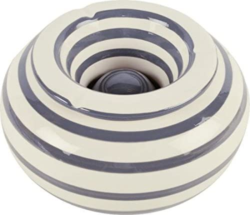 Trends /& more Posacenere XXL a Strisce Bianco Grigio /Ø22 cm in Ceramica