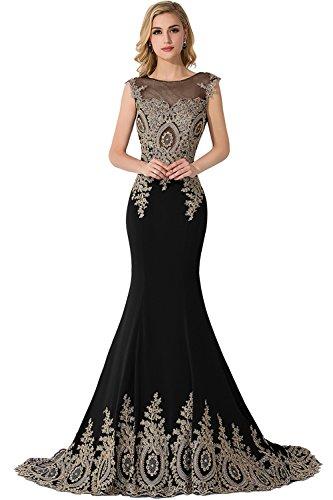 Tüll Ärmellos Damen Schwarz Abendkleid Mit Meerjungfrau Applikation Babyonlinedress® Partykleid Lang Ballkleider qwgItT