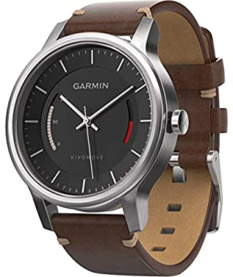 Garmin 010-01597-20 Vivomove Premium - Ww, Stainless Steel with Leather Band (Certified Refurbished)