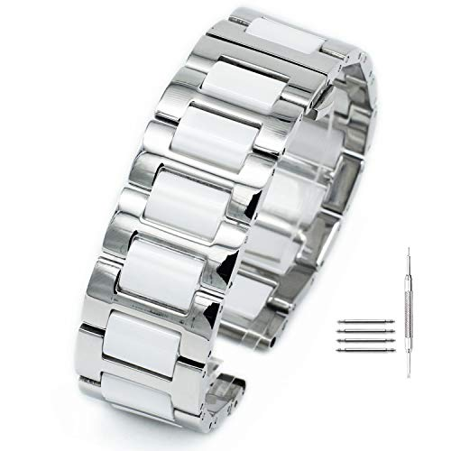 Ceramics Stainless Steel Watch Band Strap Bracelet Butterfly Buckle Clasp 16mm 18mm 20mm ()