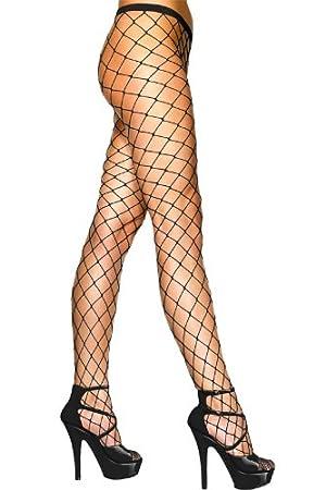 Netzstrumpfhose Netz Strumpfhose grobe Maschen Schwarz Strumpf Hose Kostüm Fasching, Schwarz, S-L