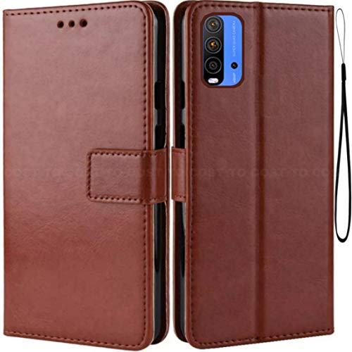 COST TO COST Flip Cover for Mi Redmi 9 Power  Leather|Brown and Black