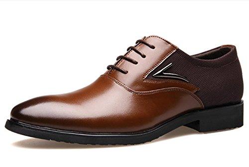 CSDM Pattini di cuoio genuino dei nuovi uomini di scarpe di cerimonia nuziale casuali delle scarpe singole di formato grande traspirante , deep yellow , 41