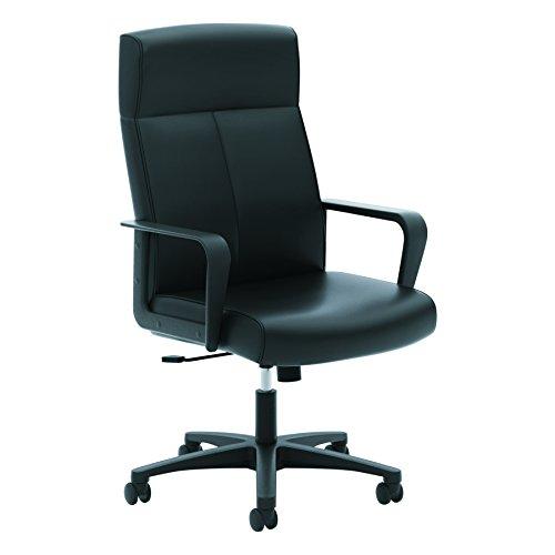 Executive High Back Seating - HON Validate Leather Executive Chair - High Back Armed Office Chair for Computer Desk, Black (HVL604)