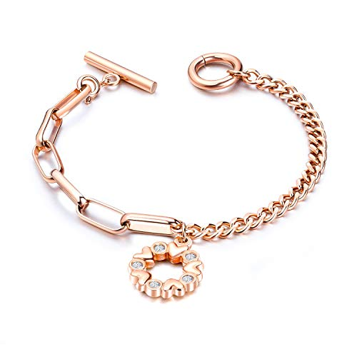 (Fashion Ahead Circle Hearts Charm Bracelet for Women Silver Rose Gold Stainless Steel Link Chain Bracelet Toggle Bracelet, 7.3 inches (Silver-Heart Circle))