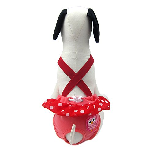 Dog Sanitary Garments - Alfie Pet - Ariel Diaper Dog Sanitary Pantie with Suspender for Girl Dogs - Color: Red, Size: XL