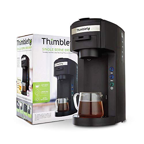 Thimblety Single Serve Tea and Coffee Brewer – K-Cup Coffee Maker – Single Serve Coffee Maker K Cup – Single Serve K Cup Coffee Maker and Tea Maker – Small Single Cup Coffee Maker- KCup Machine