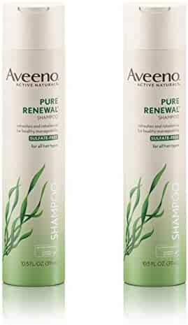 Aveeno Pure Renewal Hair Shampoo, Moisturizing Shampoo with Seaweed Extract, Sulfate-Free Formula 10.5 fl. Oz (Pack of 2)