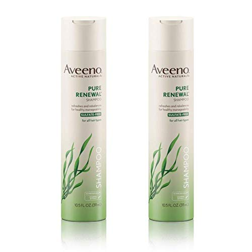Aveeno Pure Renewal Hair Shampoo, Moisturizing Shampoo with Seaweed Extract, Sulfate-Free Formula 10.5 fl. Oz (Pack of 2) from Aveeno