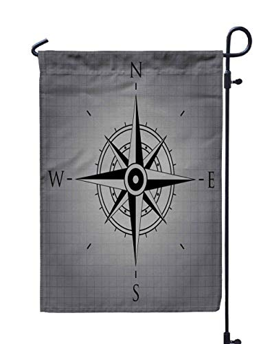 Shorping Welcome Garden Flag, 12x18Inch Black Wind Rose Gray Background for Holiday and Seasonal Double-Sided Printing Yards Flags