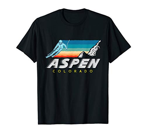 - Aspen Colorado - USA Ski Resort 1980s Retro Collection Shirt