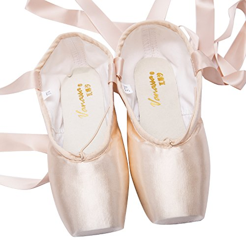 MICHEALWU-Girls-and-Women-Dance-Shoe-Professional-Level-Pink-Satin-Ballet-Pointe-Shoes-with-Ribbon-and-Toe-Pads-US10-Inner-length-1021-inch