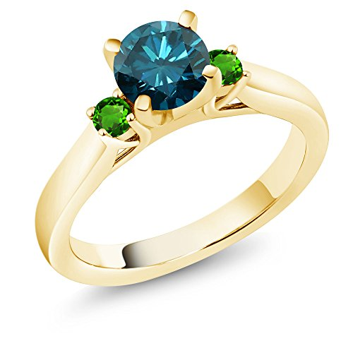Gem Stone King 1.08 Ct Diamond & Simulated Tsavorite 18K Yellow Gold Plated Silver 3-Stone Ring (Size 9)