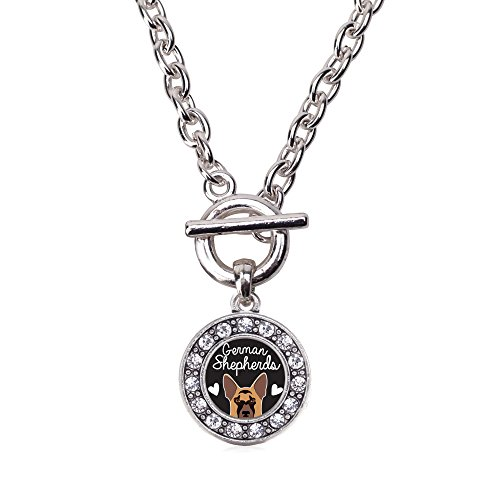 Inspired Silver - German Shepherd Lover Toggle Charm Necklace for Women - Silver Circle Charm 18 Inch Necklace with Cubic Zirconia Jewelry