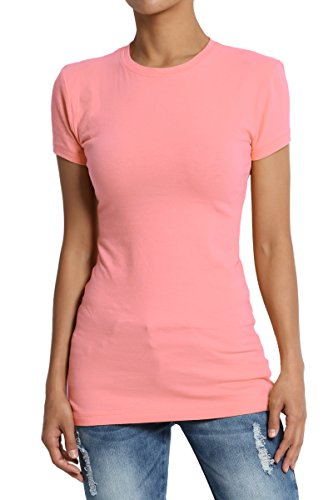TheMogan Women's Basic Crew Neck Short Sleeve T-Shirts Cotton Tee Rose Pink L