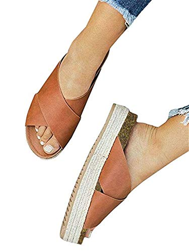 - SurBepo Women's Platform Espadrilles Slide Sandals Criss Cross Slide-on Open Toe Faux Leather Summer Flat Sandals (6 B(M) US-EU Size 36, 2-Brown)